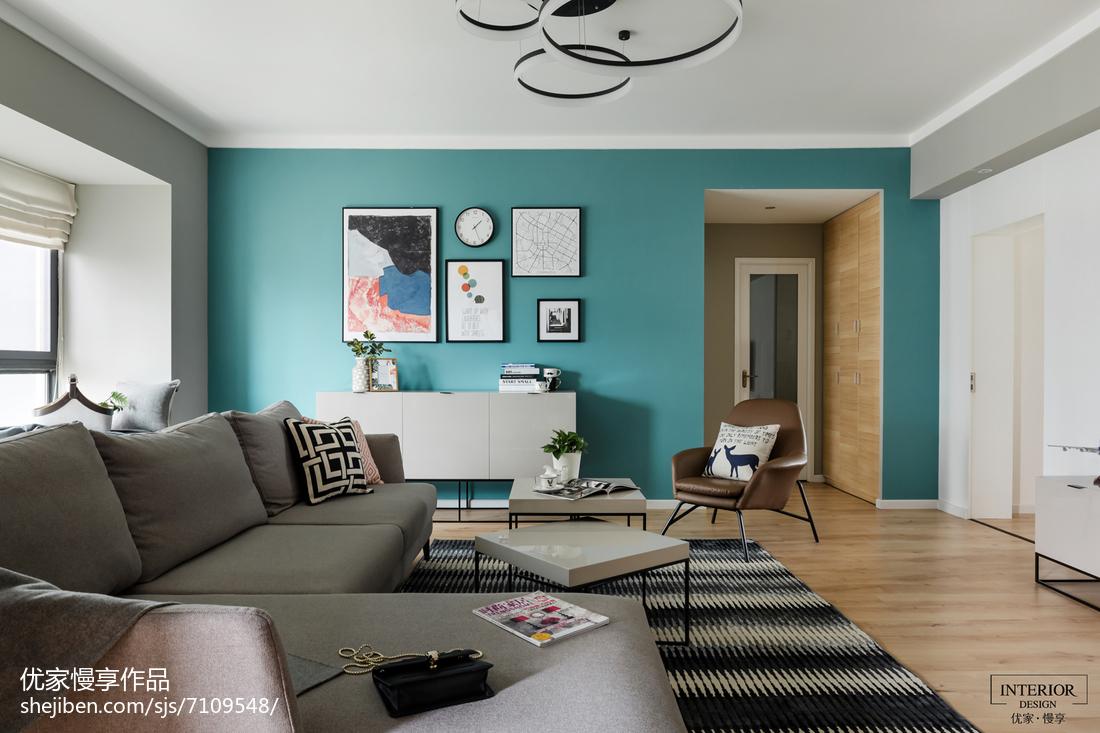 北欧风蓝色背景墙客厅北欧极简客厅设计图片赏析