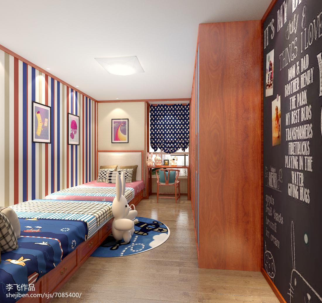 2018精选94平米三居儿童房中式装饰图卧室中式现代卧室设计图片赏析