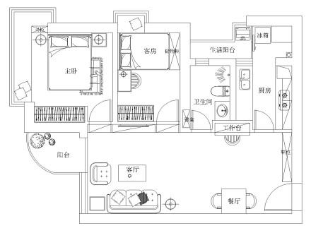 精美63平现代二居设计美图