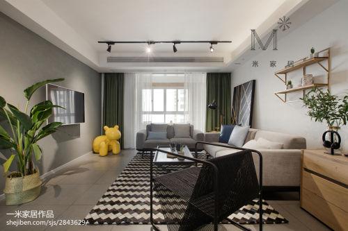 三居室客厅装修效果图客厅窗帘121-150m²三居北欧极简家装装修案例效果图