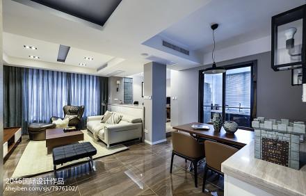 2018面积95平简约三居客厅实景图片