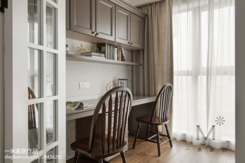 精选面积96平美式三居书房设计效果图151-200m²三居家装装修案例效果图