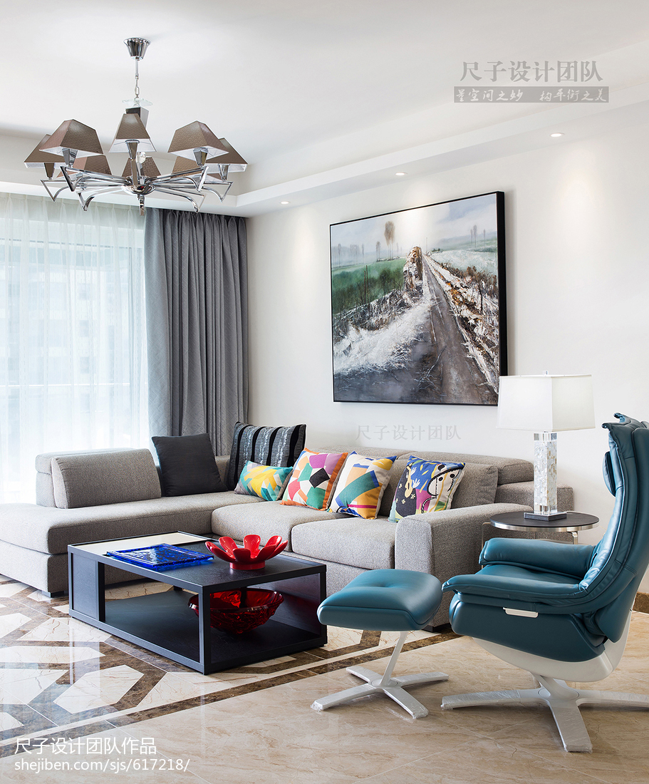 面积130平现代四居客厅效果图