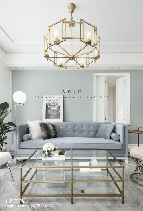 精美114平欧式二居效果图片大全客厅沙发101-120m²二居欧式豪华家装装修案例效果图