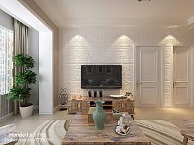 现代简约风格小户型客厅布艺沙发效果图