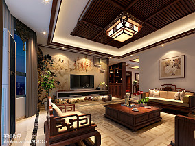 悠雅360平中式别墅客厅装饰图片