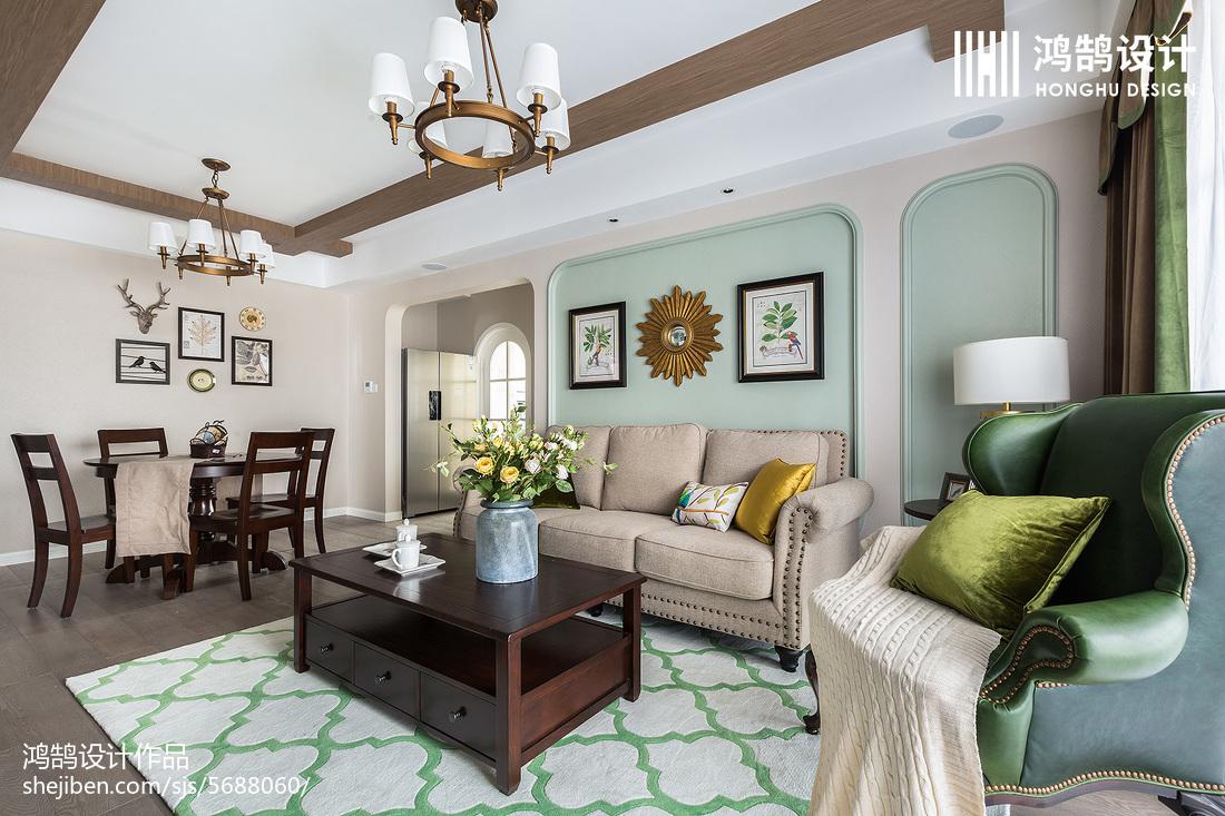 温馨100平美式三居实景图片客厅美式经典客厅设计图片赏析