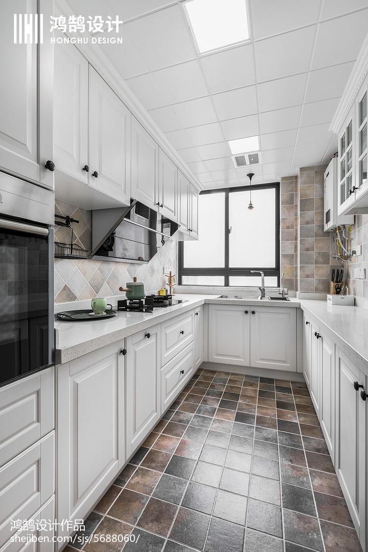 优雅109平美式三居实景图片餐厅美式经典厨房设计图片赏析