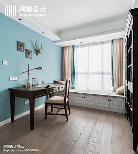 温馨75平美式三居书房设计图三居美式经典家装装修案例效果图