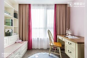 温馨71平美式三居书房实拍图三居美式经典家装装修案例效果图
