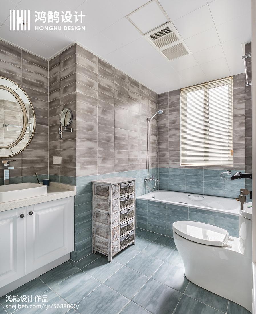 华丽86平美式三居卫生间实拍图卫生间美式经典卫生间设计图片赏析
