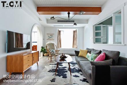 热门北欧二居客厅装修设计效果图81-100m²二居北欧极简家装装修案例效果图