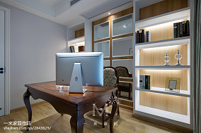 浪漫117平美式三居书房装修效果图三居美式经典家装装修案例效果图