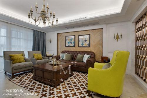 平美式三居客厅设计效果图客厅窗帘201-500m²三居美式经典家装装修案例效果图