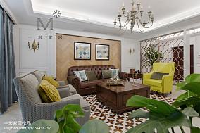 2018精选大小105平美式三居客厅效果图三居美式经典家装装修案例效果图