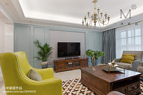 热门107平米三居客厅美式实景图片大全三居美式经典家装装修案例效果图