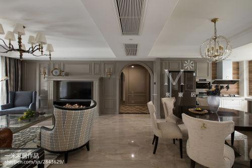2018大小98平美式三居客厅实景图片大全客厅吊顶151-200m²三居家装装修案例效果图