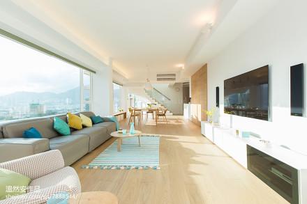 简约风格复式客厅效果图复式现代简约家装装修案例效果图