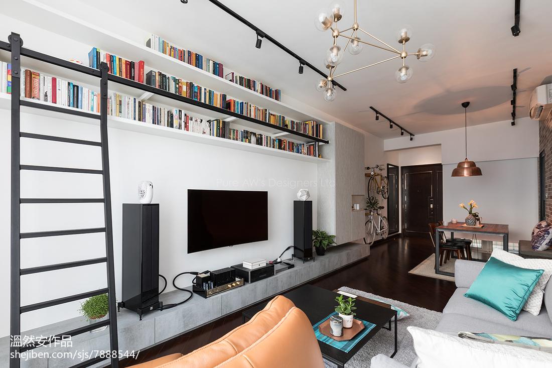 精美76平米二居客厅装修实景图片欣赏客厅窗帘潮流混搭客厅设计图片赏析