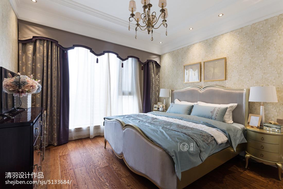 轻奢92平新古典三居卧室效果图片大全卧室美式经典卧室设计图片赏析