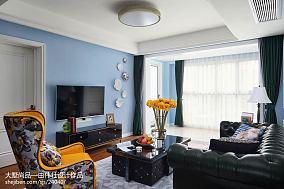 美式蓝色电视背景墙客厅美式经典客厅设计图片赏析