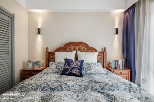 轻奢51平美式二居卧室装修设计图卧室窗帘