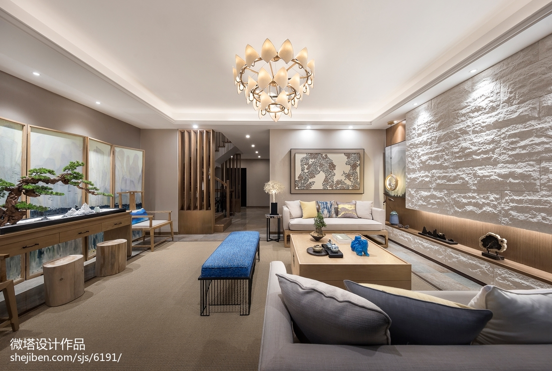 2018中式客厅装修实景图片大全样板间中式现代家装装修案例效果图