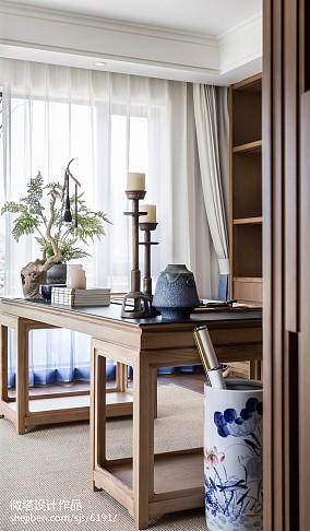 轻奢279平中式样板间书房装修设计图样板间中式现代家装装修案例效果图