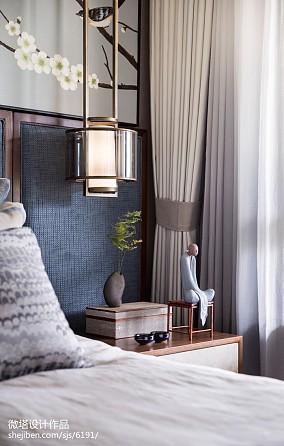 大气296平中式样板间卧室装修案例样板间中式现代家装装修案例效果图