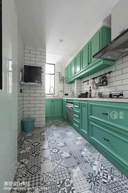 精致79平美式三居厨房效果图欣赏餐厅