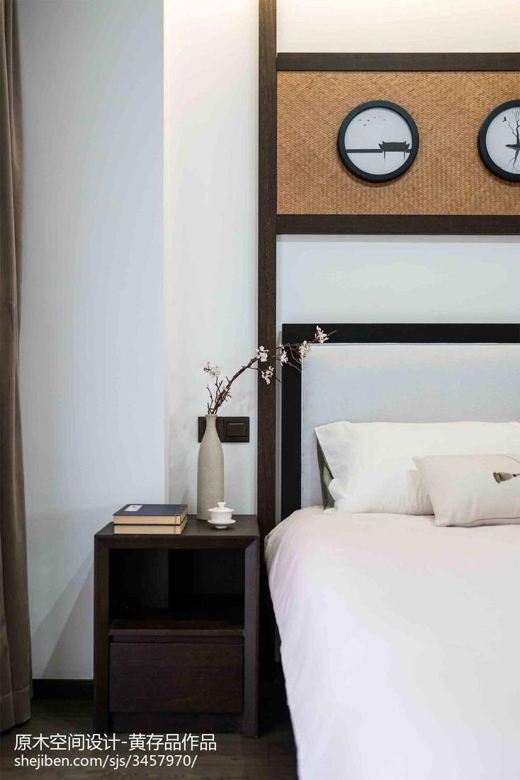 明亮99平中式三居卧室装潢图卧室床头柜中式现代卧室设计图片赏析