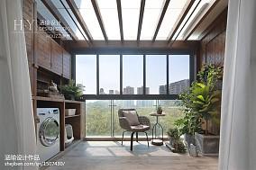 2018面积90平美式三居阳台装修实景图片
