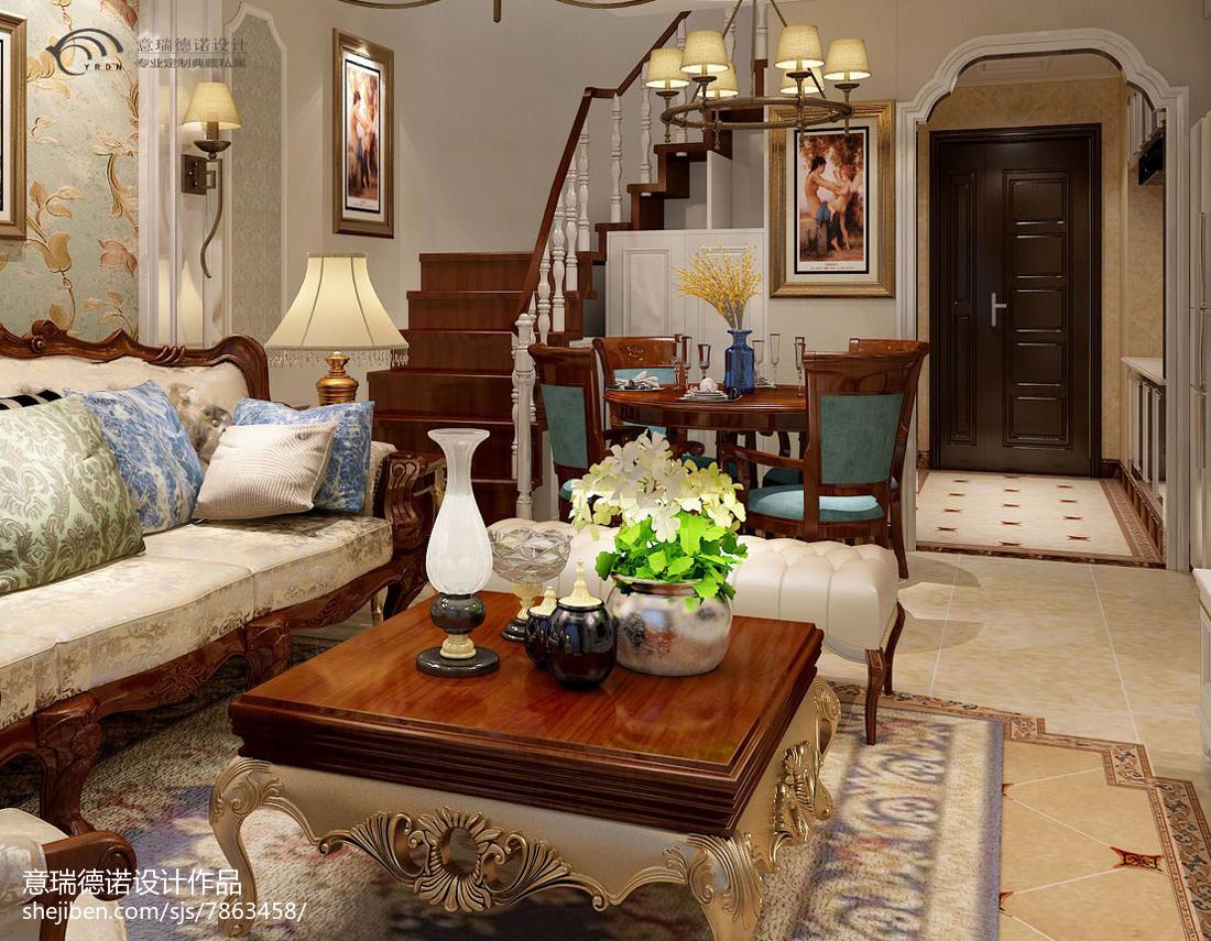 精选82平米美式小户型客厅装修实景图客厅美式经典客厅设计图片赏析
