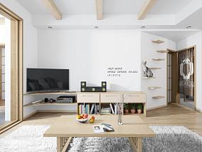 精美面积78平日式二居客厅装修实景图