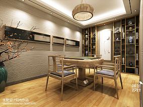 明亮77平中式二居效果图121-150m²二居中式现代家装装修案例效果图