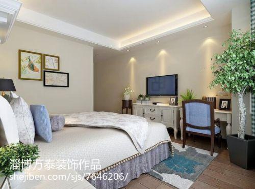 精美98平米三居卧室简欧装修图片欣赏卧室床头柜151-200m²三居家装装修案例效果图
