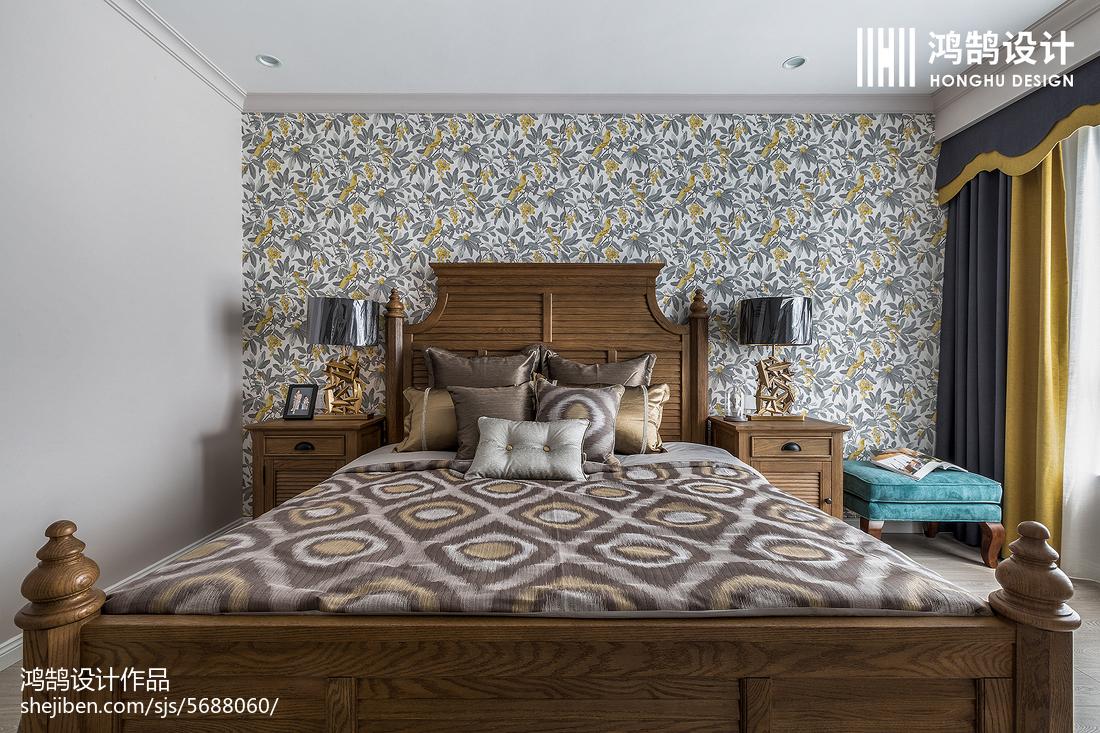 2018大小101平美式三居卧室实景图片卧室美式经典卧室设计图片赏析