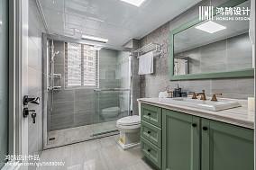精美93平米三居卫生间美式欣赏图三居美式经典家装装修案例效果图