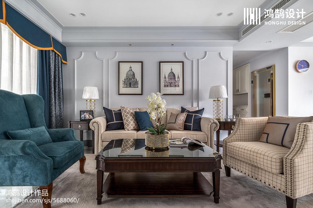 面积101平美式三居客厅实景图片大全客厅