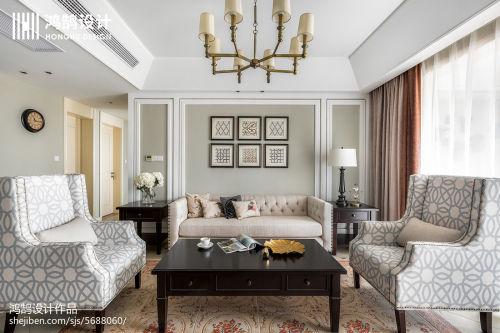 115平米四居客厅美式装饰图片客厅窗帘151-200m²四居及以上美式经典家装装修案例效果图