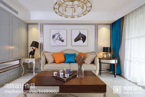 2018精选面积109平现代三居客厅装修效果图片欣赏客厅窗帘