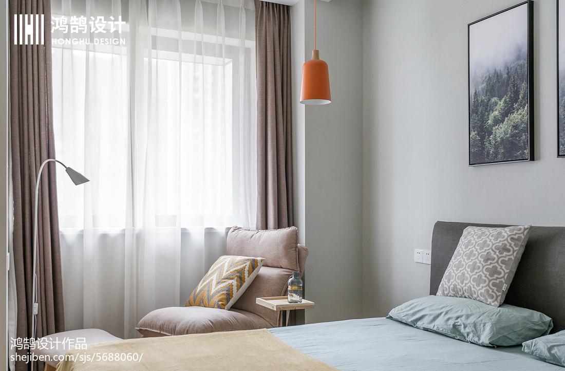 88㎡北欧卧室窗帘设计图片