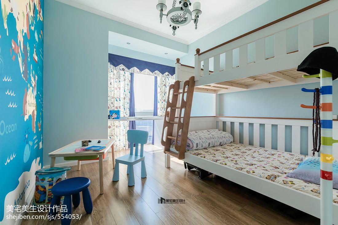 2018精选70平米二居儿童房美式装修实景图片大全卧室窗帘美式经典卧室设计图片赏析