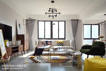 2018140平米四居客厅北欧装修效果图四居及以上北欧极简家装装修案例效果图
