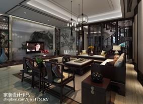 欧式田园风格客厅连餐厅装修效果图片