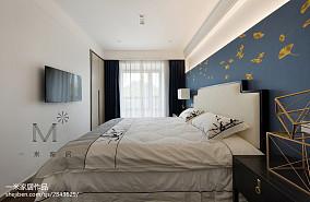 2018精选面积107平中式三居卧室效果图片大全三居中式现代家装装修案例效果图