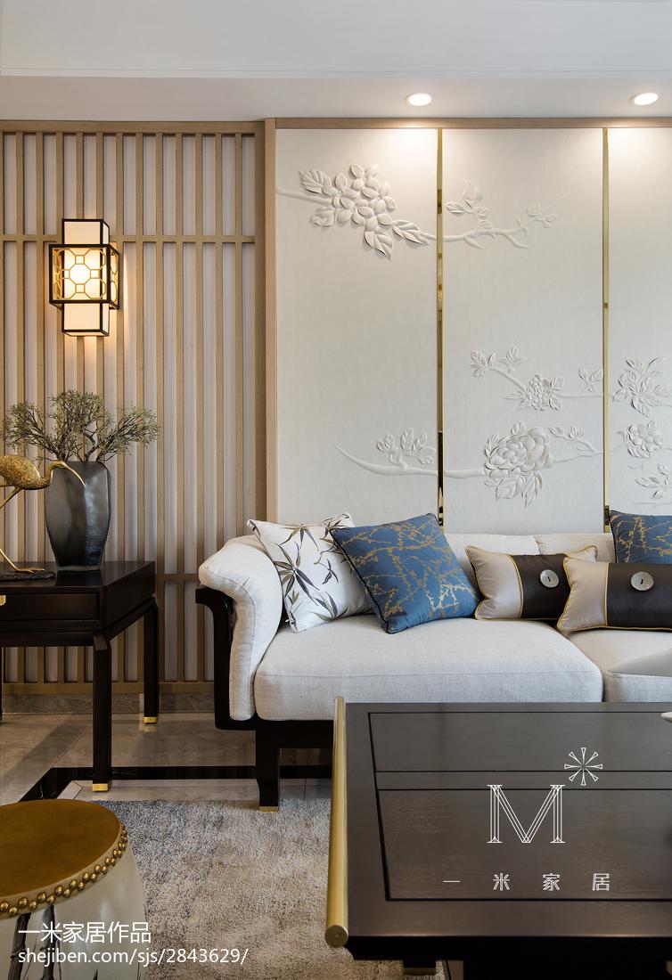 热门面积104平中式三居客厅装修图三居中式现代家装装修案例效果图