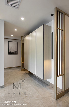 108平米三居玄关中式装修设计效果图三居中式现代家装装修案例效果图