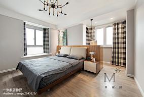 2018精选103平米三居卧室北欧装修实景图三居北欧极简家装装修案例效果图