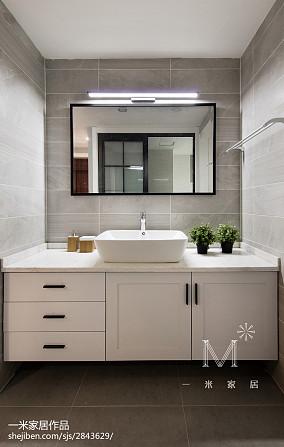 面积108平北欧三居卫生间装修欣赏图片三居北欧极简家装装修案例效果图